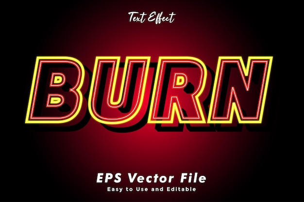 Modern burn text typography effect template