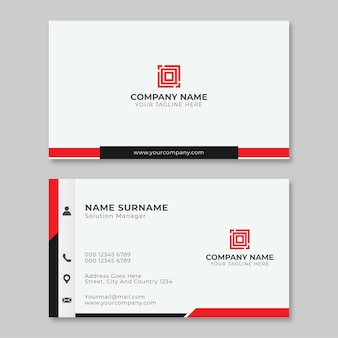 Modern busines card simple red and black template