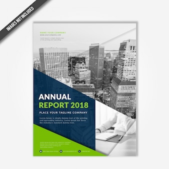 Modern business annual report 2018 cover template with green and navy blue