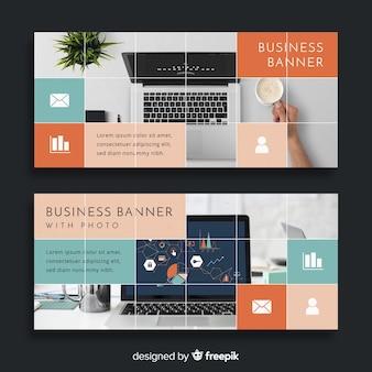 Шаблон современного бизнес-баннера с фотографией