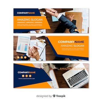 Modern business banners with photo