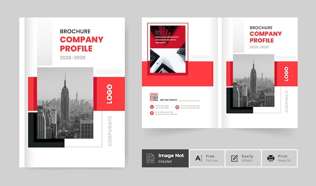 Modern business brochure cover design template or red color bifold company profile annual report