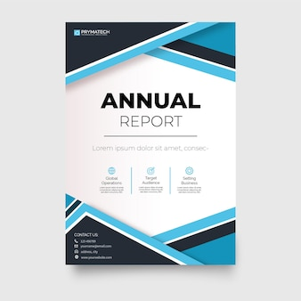 Modern business brochure template annual report with abstract blue shapes