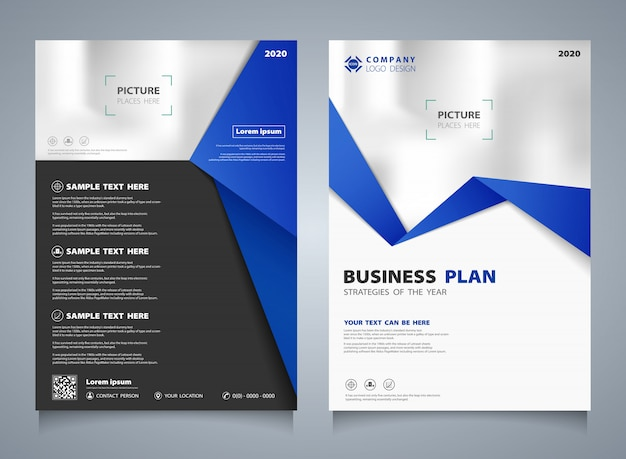 Modern business brochure template in blue geometrical design.