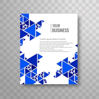 Modern business brochure with blue triangular forms