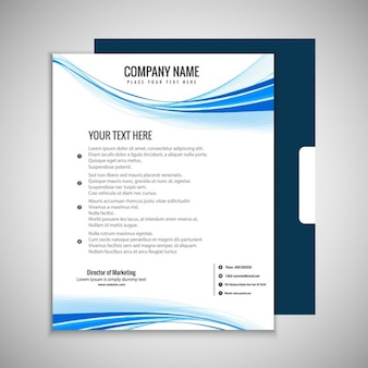Modern business brochure with blue waves