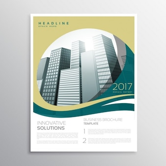 Modern business brochure with waves