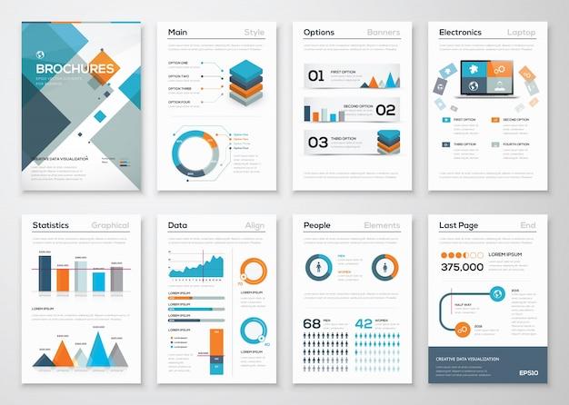 現代のビジネスパンフレットとインフォグラフィックベクターエレメント