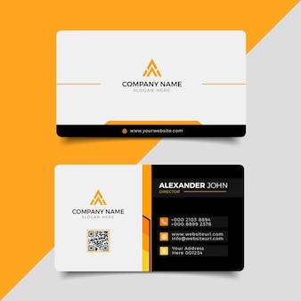 Современная визитная карточка черно-оранжевый элегантный профессиональный