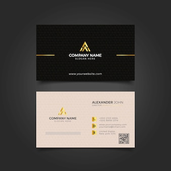 Modern business card black and gold corporate professional