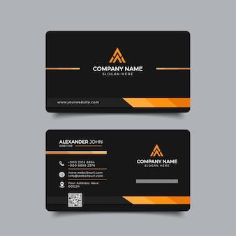 Modern business card black and orange elegant professional