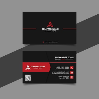 Modern business card black and reed corporate professional