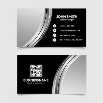 Modern business card, black and silver
