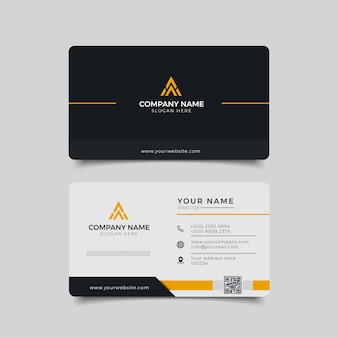 Modern business card black and yellow corporate professional