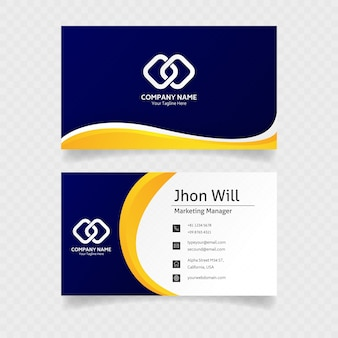 Modern business card in blue colors with minimalist concept