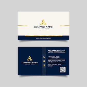 Modern business card blue  and gold corporate professional