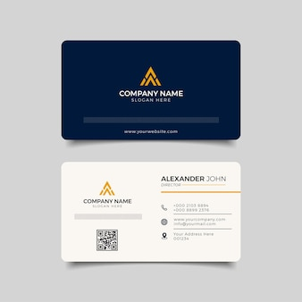 Modern business card blue  and yellow corporate professional