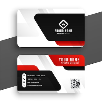 Modern business card design in red black and white color