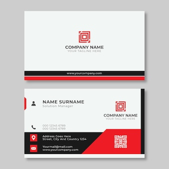 Modern business card design template red and black color element clean composition