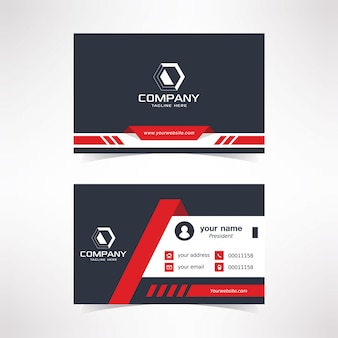 Modern business card design template with black red white colors