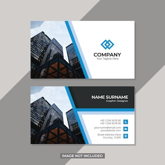 Modern business card design template with building picture