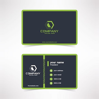 Modern business card design template with green dotted line