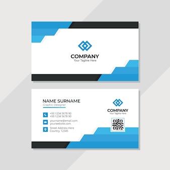 Шаблон дизайна современной визитной карточки с многоугольной формой