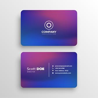 Современная визитка в сине-фиолетовой градиентной теме бесплатные векторы