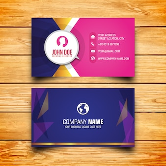 Modern business card in pink and blue