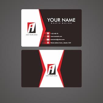 Современная визитная карточка красная и черная