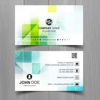 Modern business card of squares