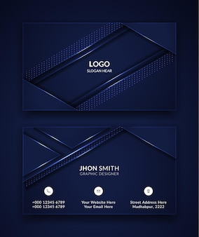 Modern business card template design in blue color.