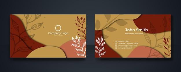 Современный дизайн шаблона визитной карточки. визитка с цветочным рисунком, фотография визитки, макет визитки. фотография визиток. черный шаблон визитной карточки