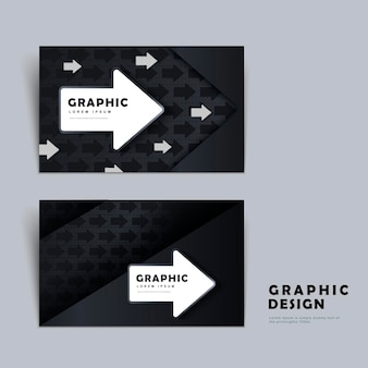 Modern business card template design with arrow element in black and white