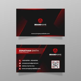 灰色の背景のベクトル図に黒と赤の両面の会社の抽象的な連絡先カードからインスピレーションを得たモダンな名刺テンプレートデザイン