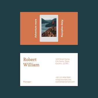 Modern business card template photo attachable for travel agency