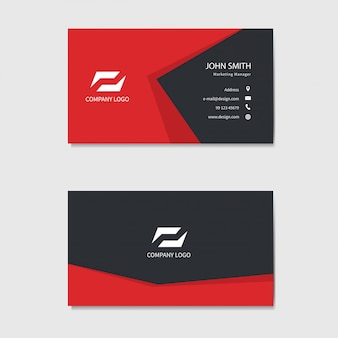 Modern business card template . red background.