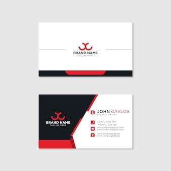 現代の名刺テンプレート赤黒色。フラットデザインベクトル抽象的なクリエイティブ-ベクトル