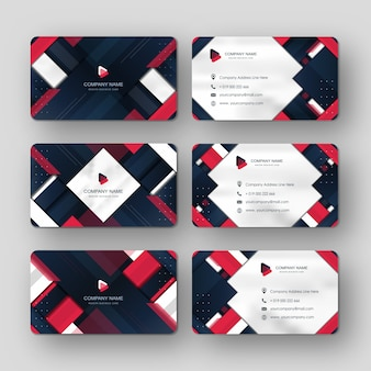 Modern business card template red blue navy