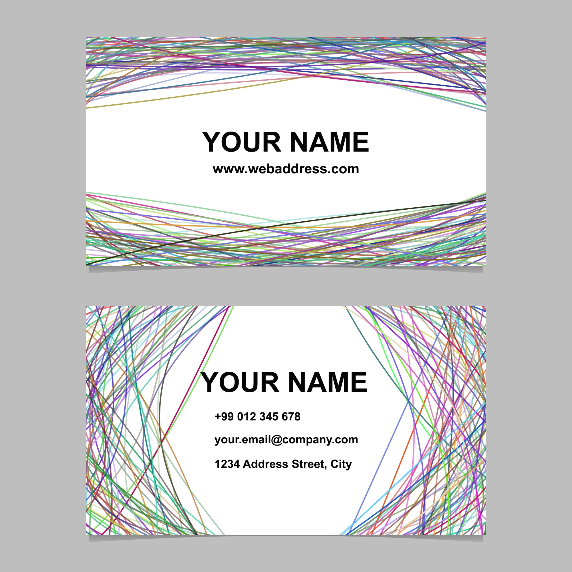 Modern business card template set - vector corporate design with arched stripes