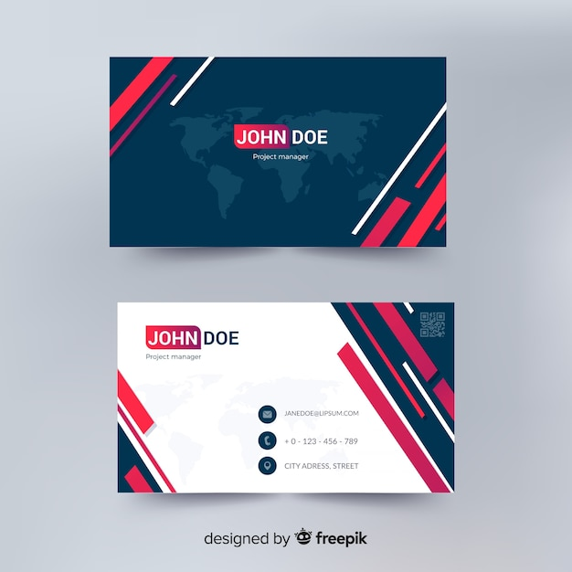 Free Modern Business Card Template With Abstract Design