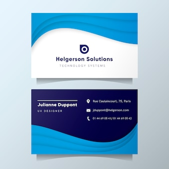 Modern business card template with blue abstract shapes