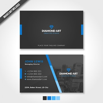 Modern business card template with blue and black