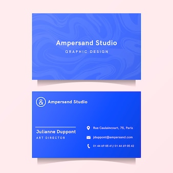 Modern business card template with blue marble shapes