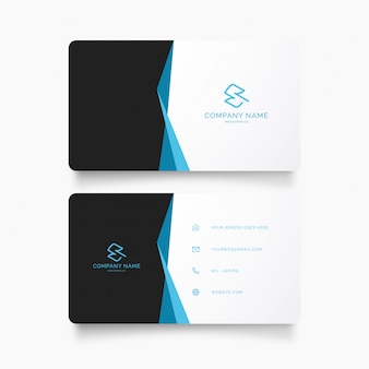 Modern business card template with blue ribbon