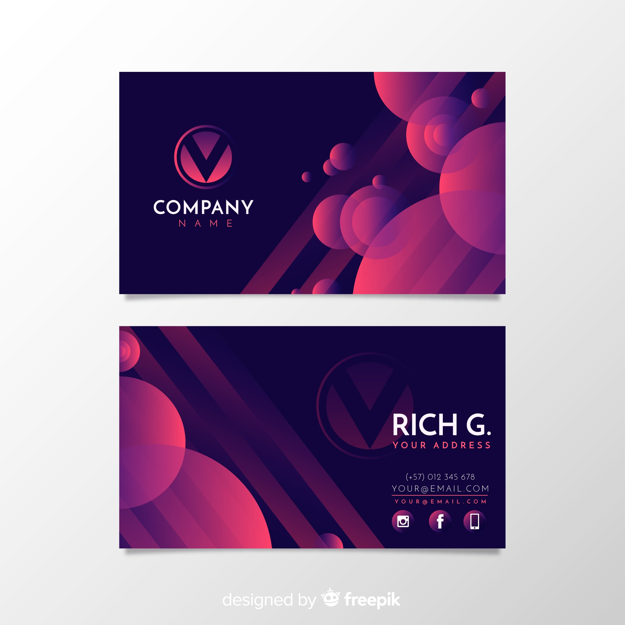 New templates vectors 230400 files in eps format modern business card template with circles friedricerecipe Choice Image