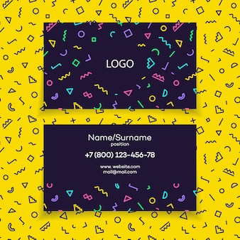 Modern business card template with different color shapes memphis style