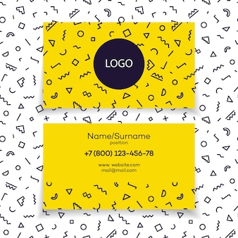 Modern business card template with different shapes, memphis style