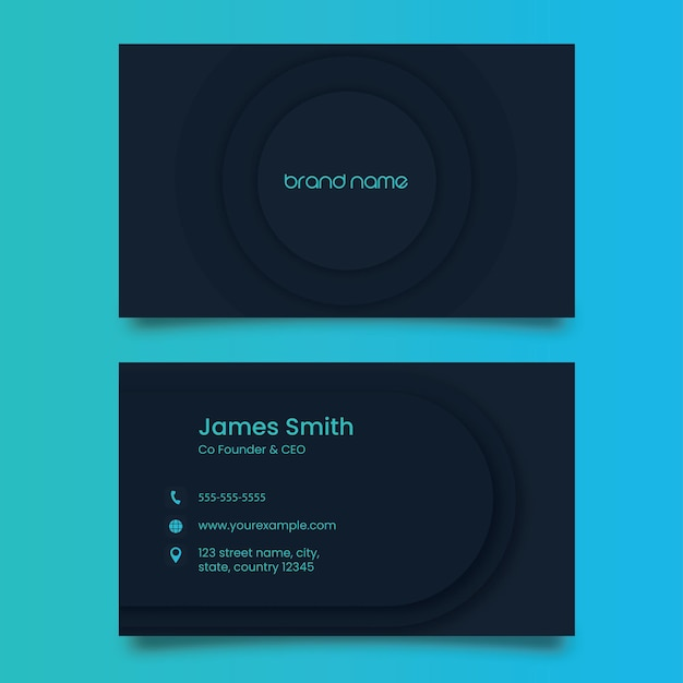 Modern business card template with double-side in dark teal blue color.