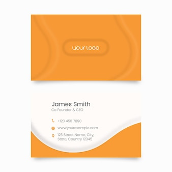 Modern business card template with double-side in orange and white color.